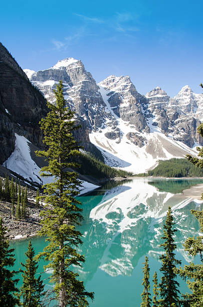 Banff Park Moraine Lake Summer view of beautiful Moraine Lake in Banff National Park, Alberta. moraine lake stock pictures, royalty-free photos & images