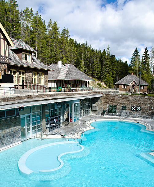 banff upper hot springs - banff national park stock photos and pictures