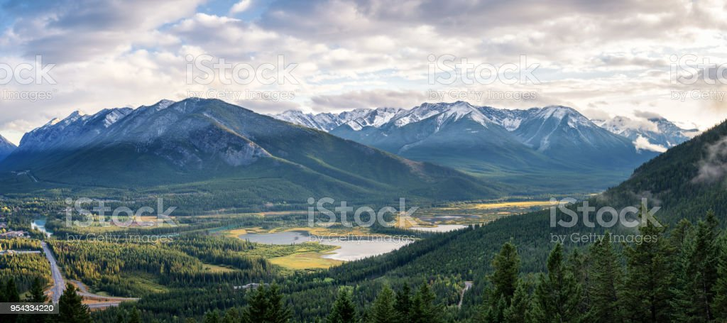 Banff Vermilion Lakes viewed from Mount Norquay in Autumn stock photo