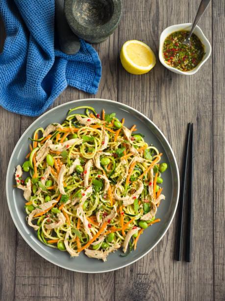 bang bang chicken salat - artischocken gesund stock-fotos und bilder