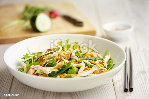 Home made freshness pull chicken breast with cucumber, carrot, rocket leaves, radish, service with soy sesame dressing