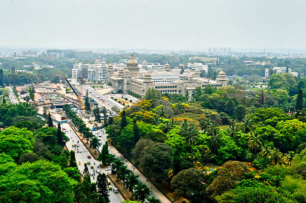 Bangalore city Aerial view with vidhansoudha coverd with trees Aerial view of Bangalore city in south India bangalore stock pictures, royalty-free photos & images