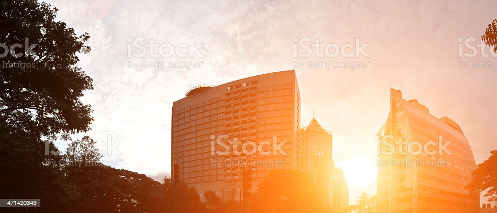 Bangalore city scape with sun ricing behind stock photo