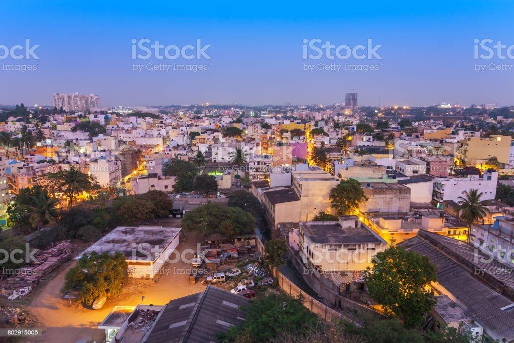 Bangalore city skyline in resident zone at night, Bangalore, India stock photo