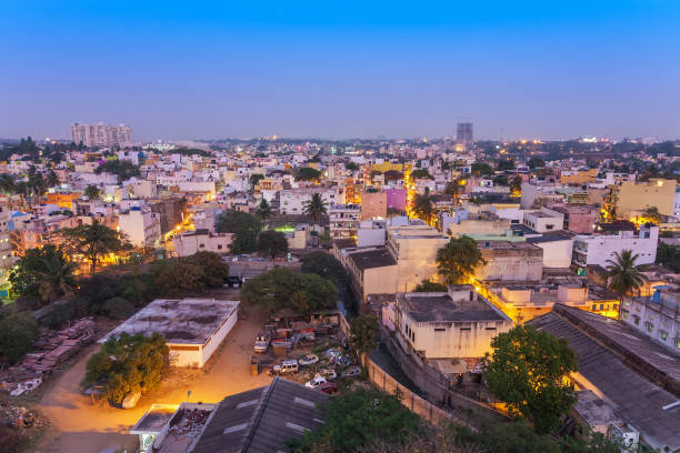 Bangalore city skyline in resident zone at night, Bangalore, India Bangalore city skyline in resident zone at night, Bangalore, India bangalore stock pictures, royalty-free photos & images
