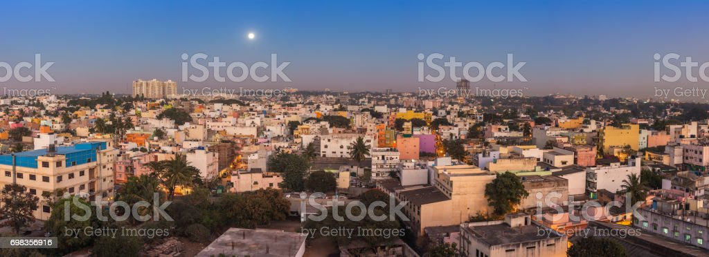 Bangalore city skyline panorama in resident zone at night, Bangalore, India stock photo
