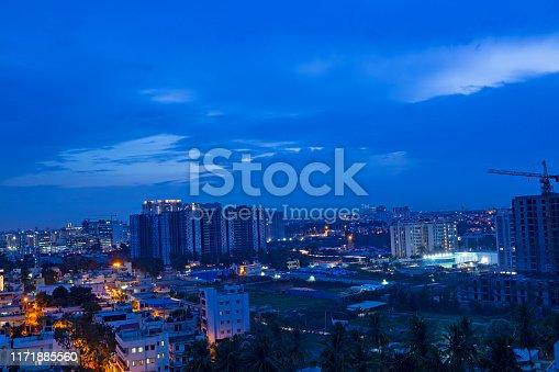 A long exposure shot of Bangalore City taken during night.