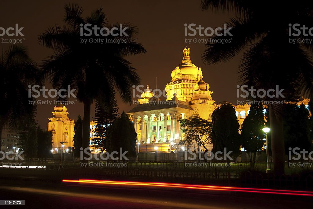 Bangalore lit up at night with palm trees stock photo