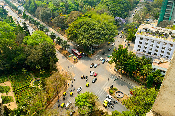Bangalore street Aerial view Aerial view of Bangalore city in south India bangalore stock pictures, royalty-free photos & images