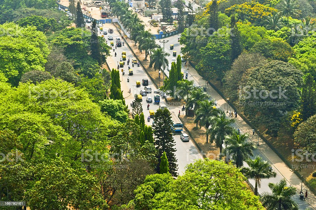 Bangalore street Aerial view stock photo