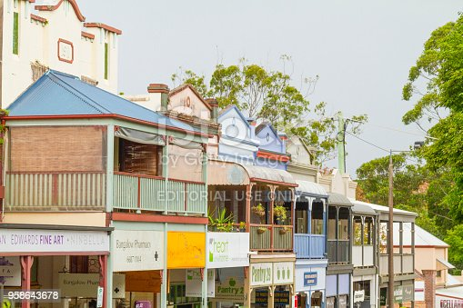 Bangalow, Australia - May 6, 2018: A general view of retail shopping, cafes and stores at Bangalow downtown.