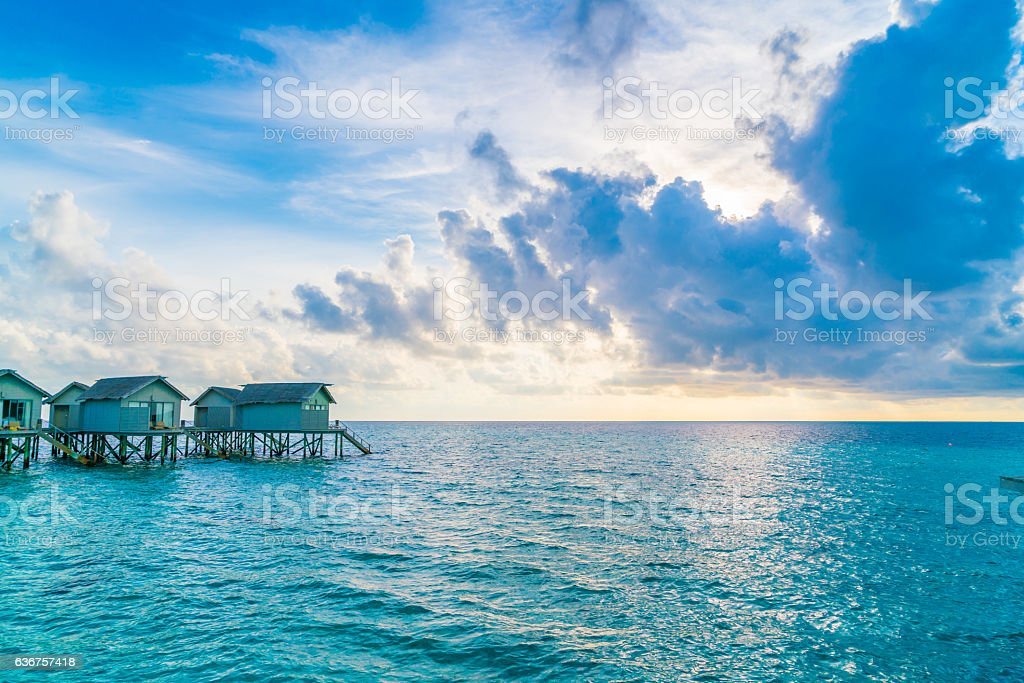 Bangalows in Maldives stock photo