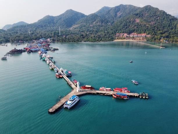 Bangbao Pier, Koh Chang, Thailand. Drone Aerial Shot A shot of the pier at Bangbao village on Koh Chang in thailand. Shot in January koh chang stock pictures, royalty-free photos & images