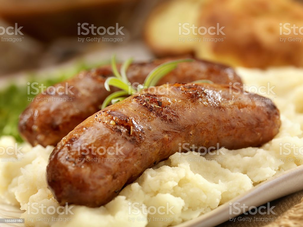 Bangers and Mash royalty-free stock photo