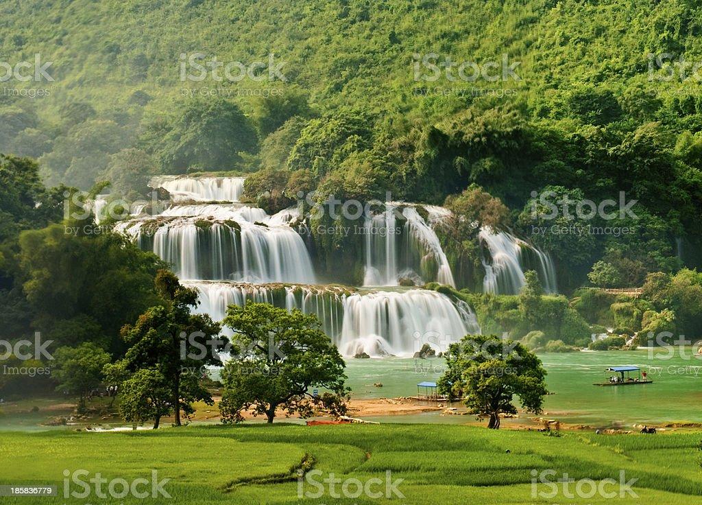 BanGioc waterfall in CaoBang, VietNam royalty-free stock photo