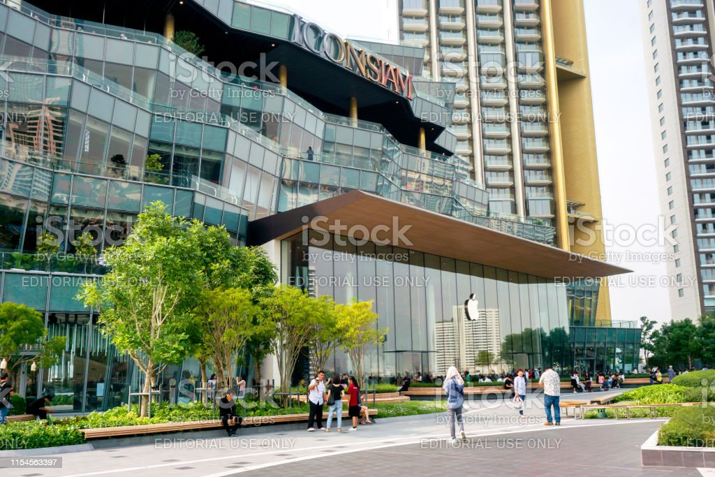 Bangkok Apple store glass building in the iconsiam shopping mall,...