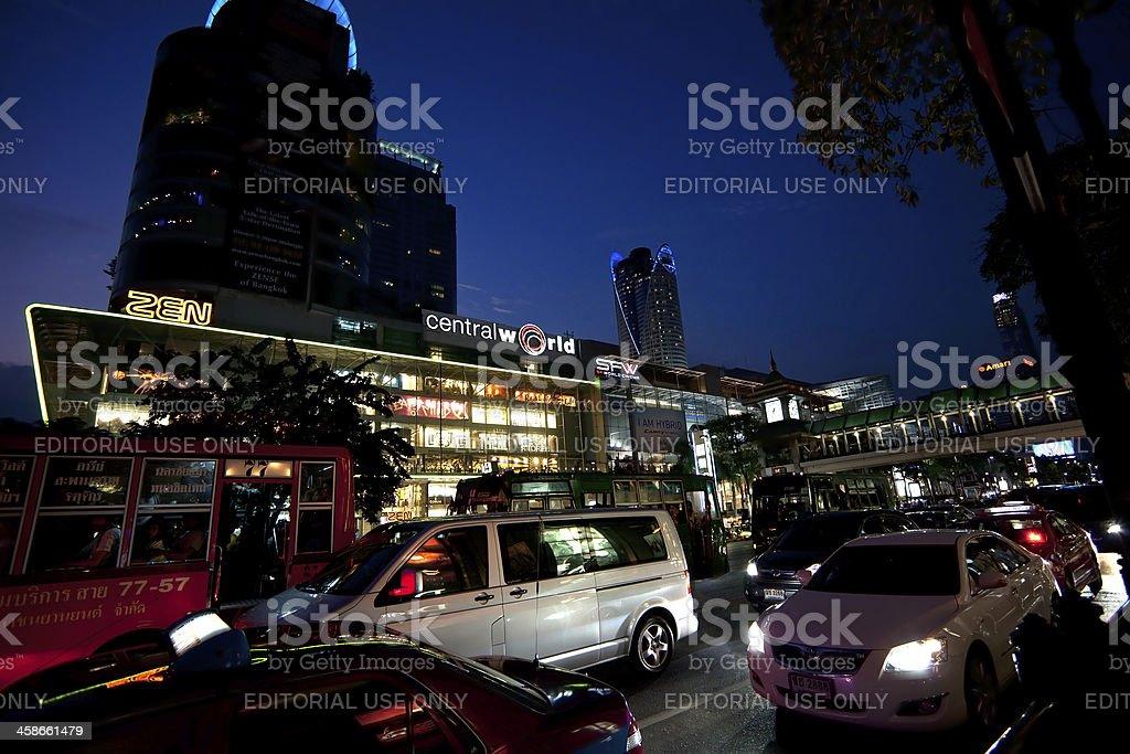 Bangkok at night - Central World shopping mal area royalty-free stock photo