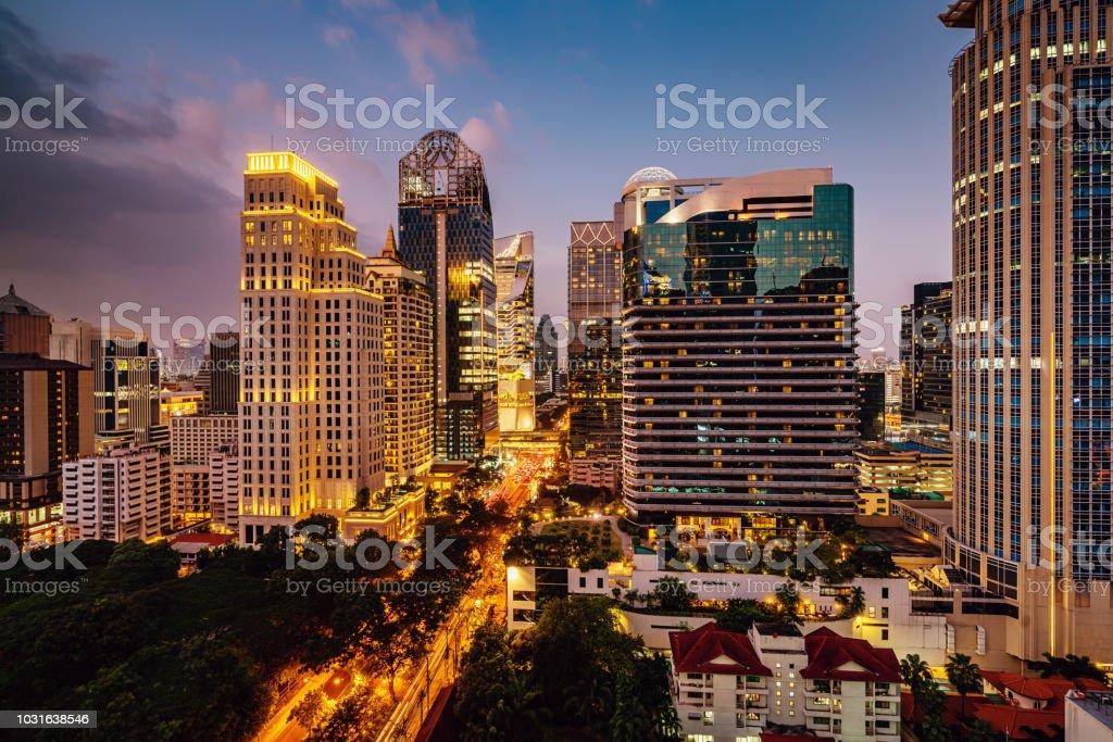 Bangkok at Night Modern Skyscrapers Cityscape Thailand stock photo