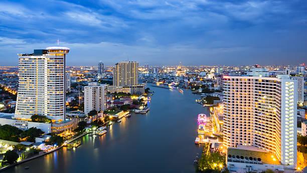 Bangkok at sunset stock photo