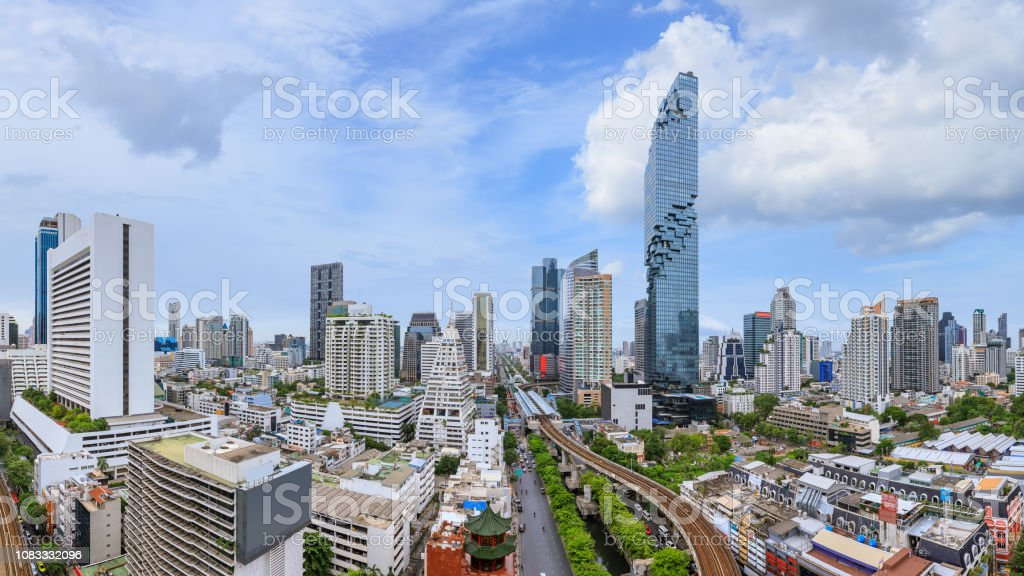Bangkok Business District Cityscape With Skyscraper At
