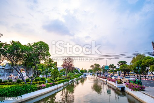 Thailand, Bangkok Khlong Lod - View of the canal in the city at sunset.