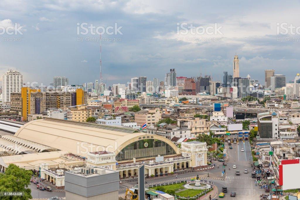Bangkok Central Train Station sunset stock photo