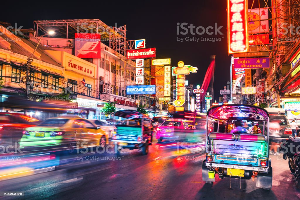 Bangkok Chinatown Traffic at night stock photo