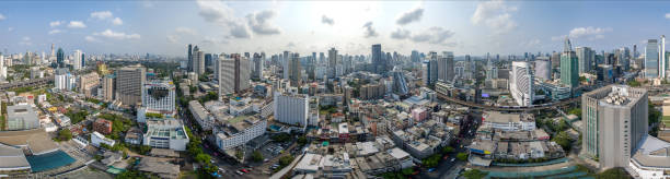Bangkok City 360° panorama, Nana and Sukhumvit Road Bangkok City 360° panorama, Nana and Sukhumvit Road Aerial Photography 360 degree view stock pictures, royalty-free photos & images