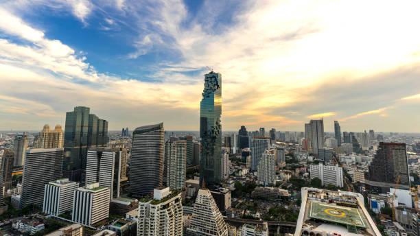 曼谷城市-鳥瞰曼谷市區地平線泰國, 城市景觀泰國圖像檔