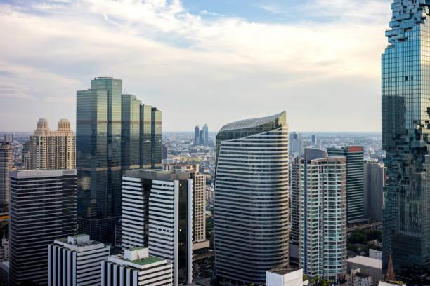 曼谷城市-鳥瞰曼谷城市市區天際線泰國, 城市景觀泰國圖像檔