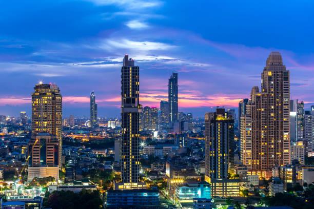 曼谷城市-鳥瞰美麗的日落曼谷城市市中心的天際線泰國, 夜間城市景觀, 曼谷風景泰國圖像檔