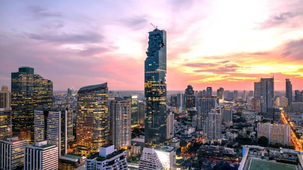 曼谷城市-鳥瞰美麗的日落曼谷市區的地平線泰國, 城市夜景, 景觀曼谷泰國圖像檔