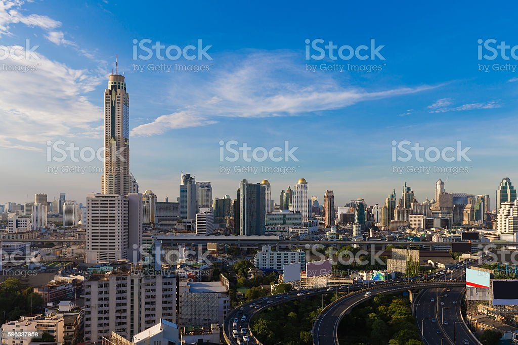 Bangkok city aerial view with clear blue sky royalty-free stock photo