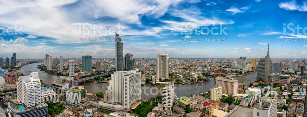 Bangkok city and Chao Phraya river panorama stock photo