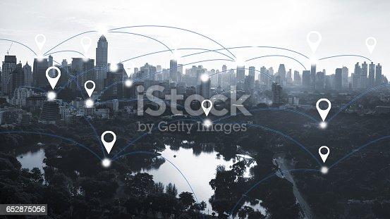 istock Bangkok city and connection concept 652875056