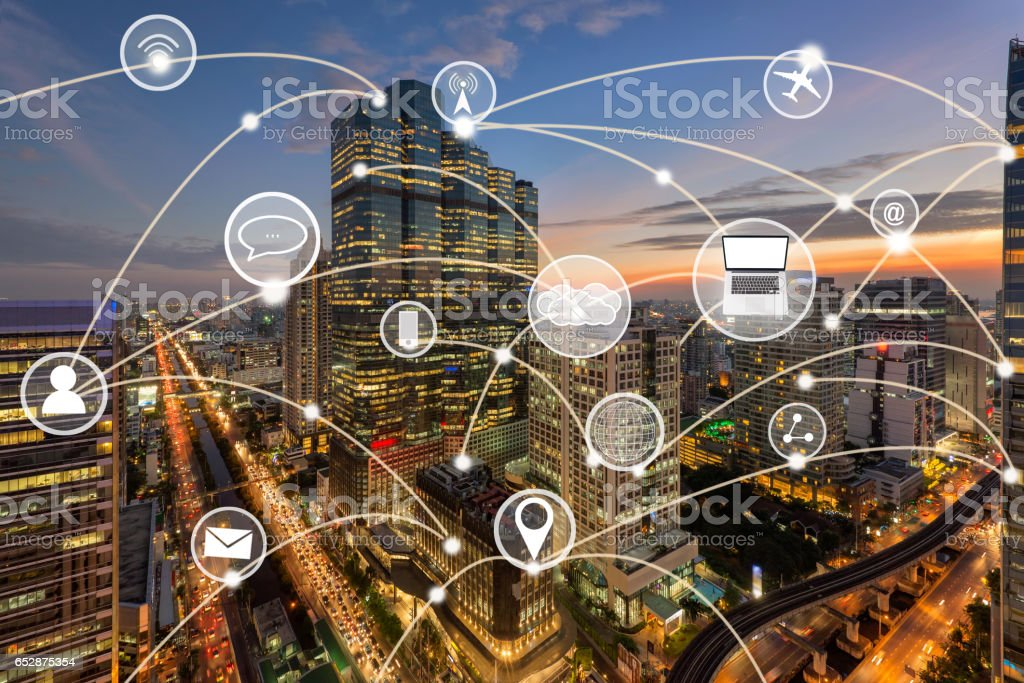 Bangkok city and connection with communication technology icon stock photo