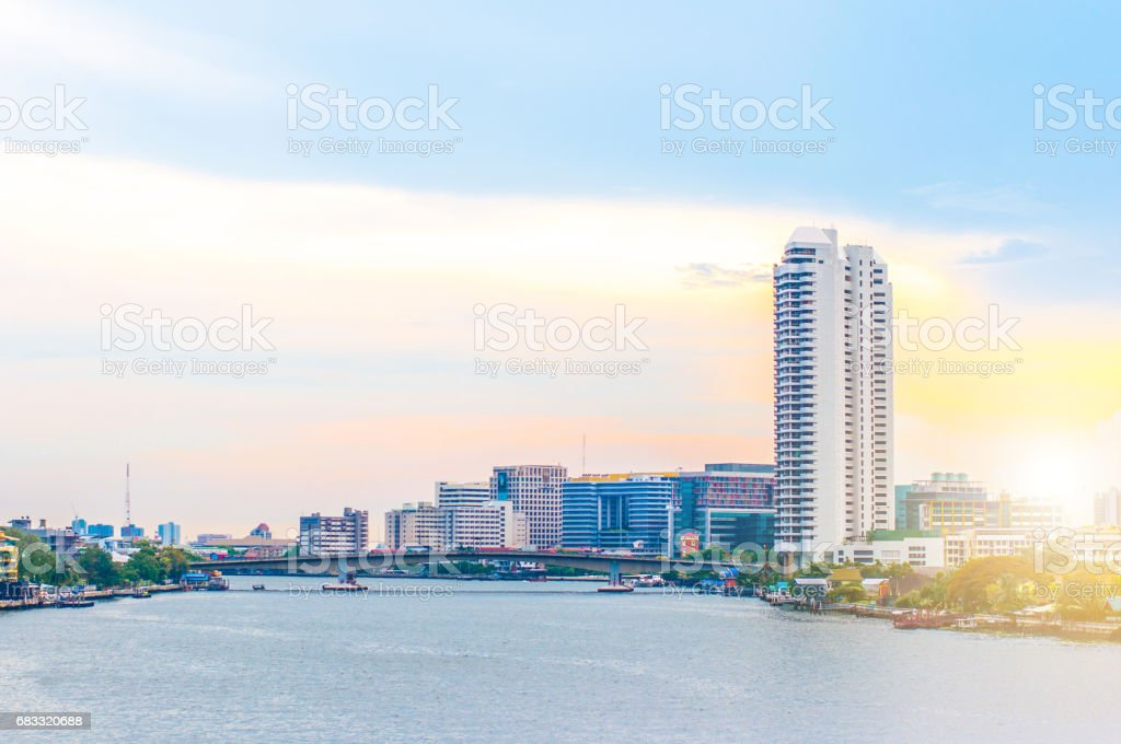 Bangkok City at night time of Thailand royalty-free stock photo