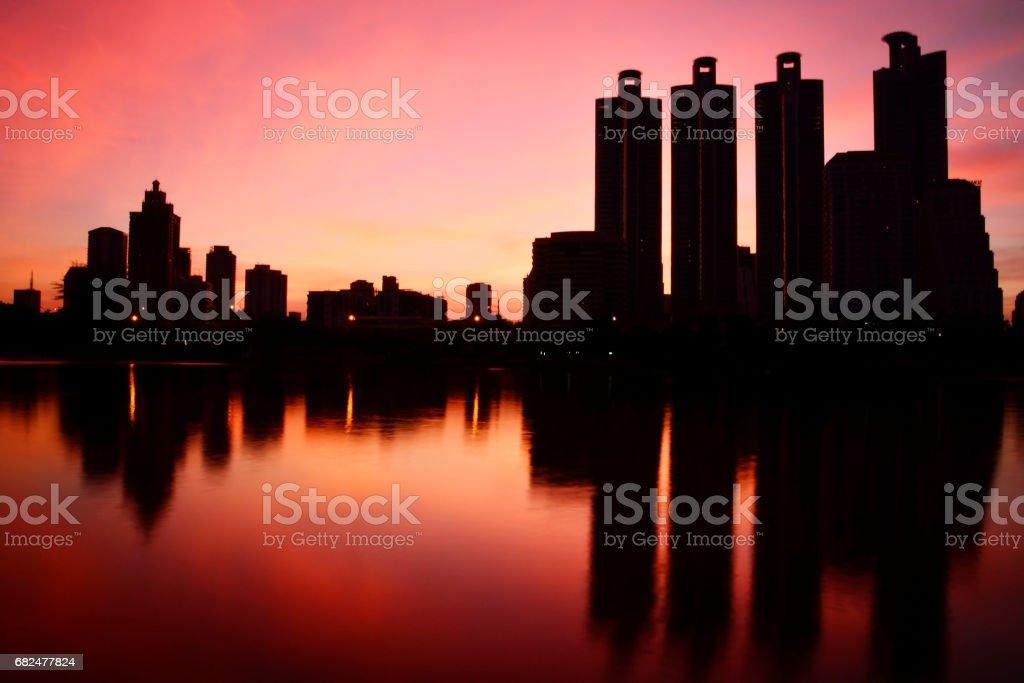 Bangkok City at night with daylight royalty-free stock photo