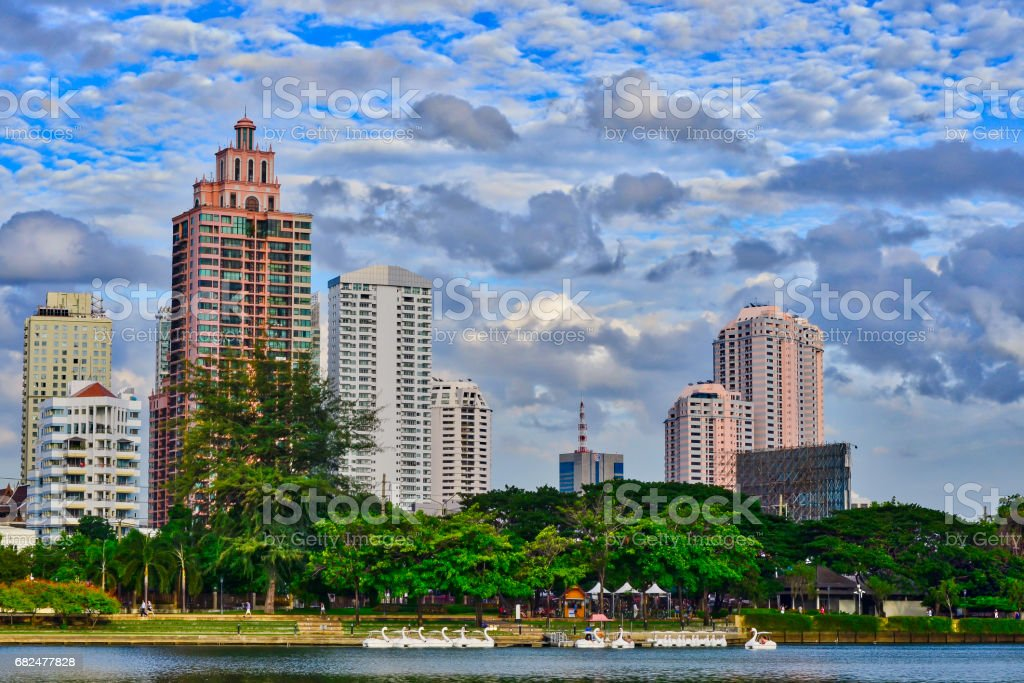Bangkok City at night with daylight royalty-free stock photo