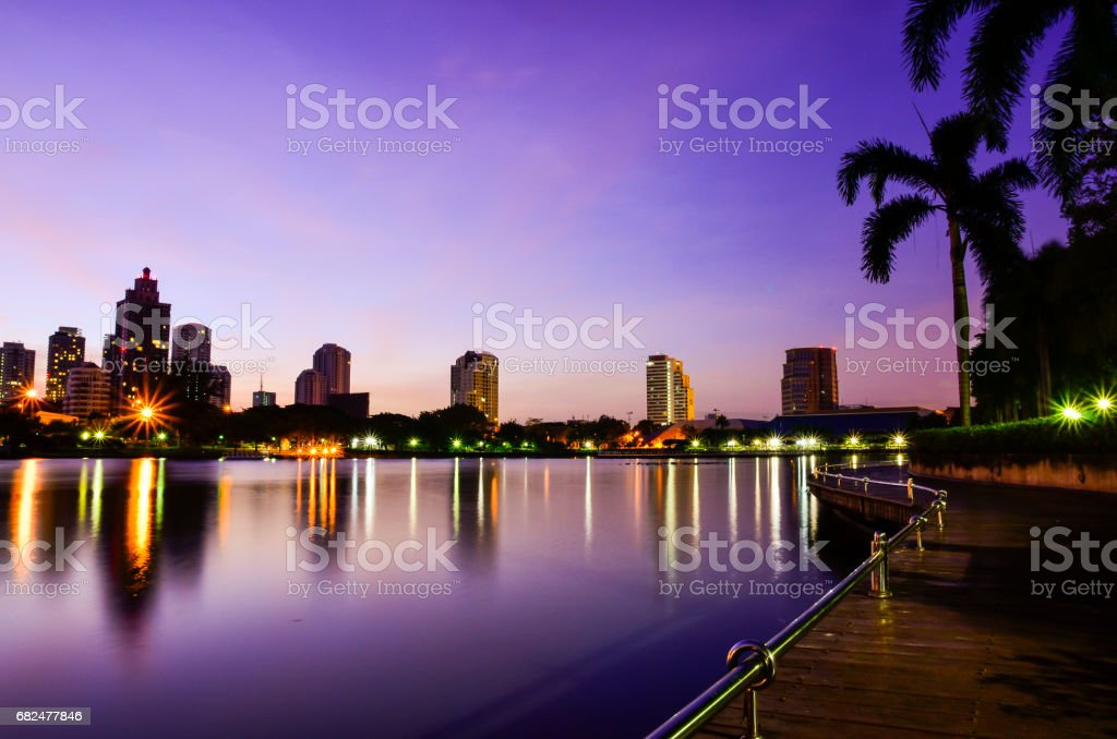 Bangkok City at night with daylight foto stock royalty-free