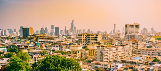 istock Bangkok city buildings cityscape, high buildings panorama downtown of Bangkok City Thailand. 1141786280
