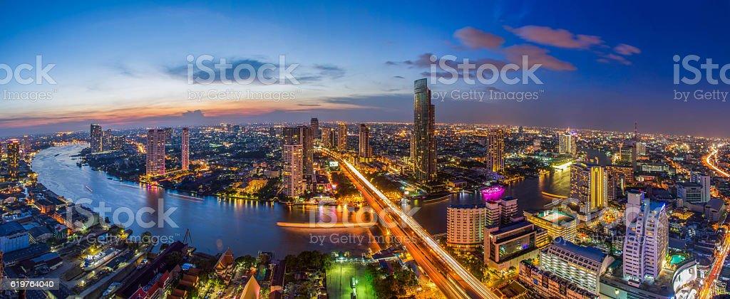 Bangkok city Chao Phraya River stock photo