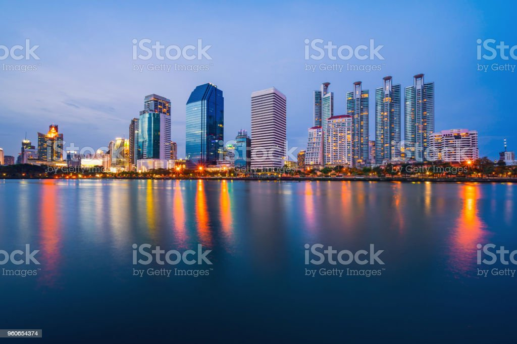 Bangkok city downtown at twilight with reflection stock photo