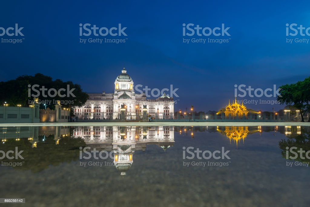 Bangkok City - Dusit Palace , Ananta Samakom Throne Hall in Bangkok , beautiful sunset , Landscape Thailand stock photo