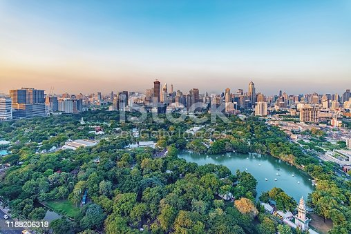 Lumphini Park and skyscrapers in Bangkok city, Thailand