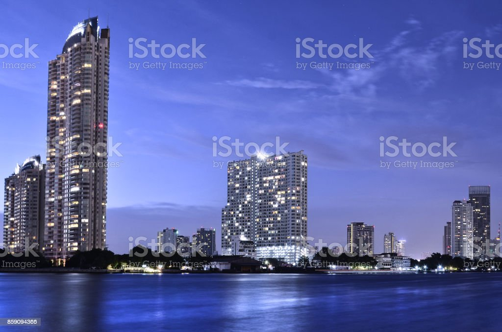 Bangkok city in the night. stock photo