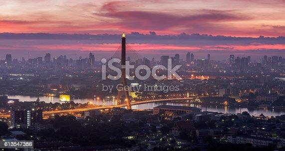 Bangkok City Rama 8 bridge lighting Twilight