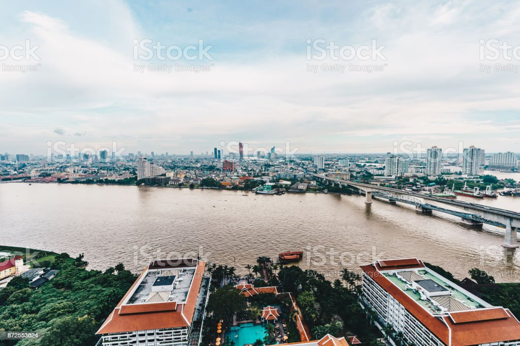 Bangkok city skyline as seen from above aerial view photography in Bangkok, Thailand stock photo