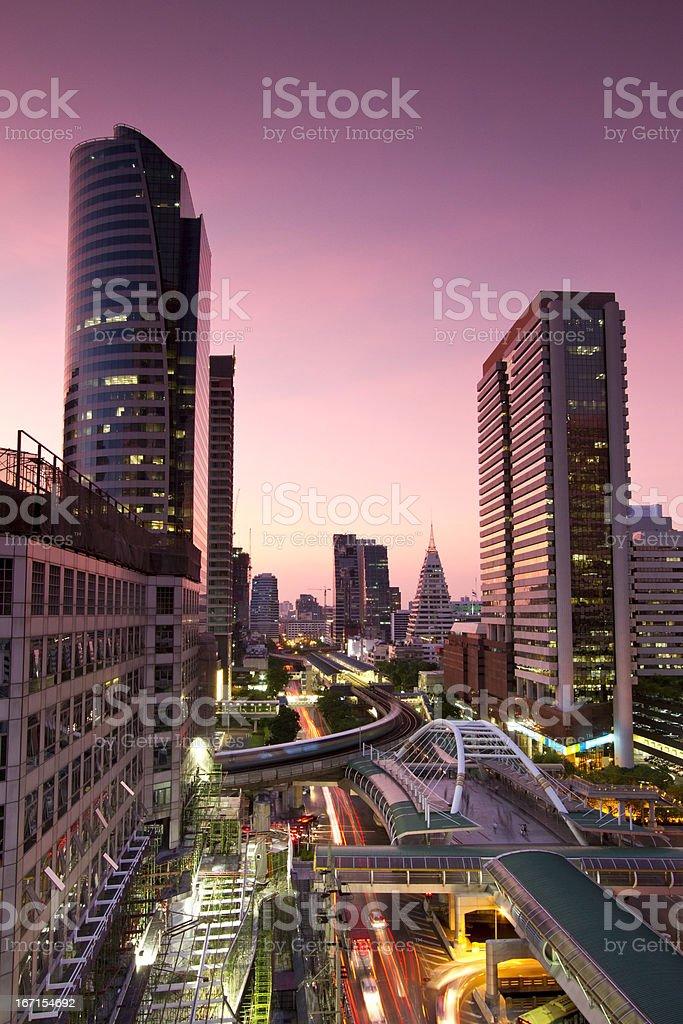 Bangkok city skyline at dusk royalty-free stock photo