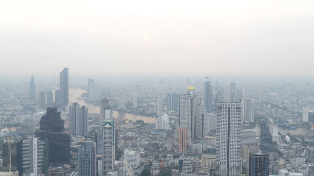 Bangkok City Thailand air pollution remains at hazardous levels PM2.5  pollutants - dust and smoke high level PM 2.5 stock photo
